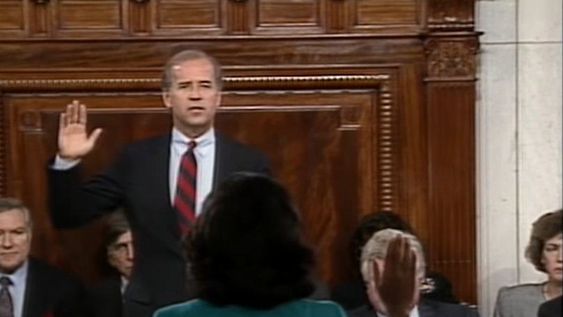 Joe Biden, as head of the Judicial Committee, swearing in Anita Hill for the Congressional hearing. (Oct.11 1991)1)
